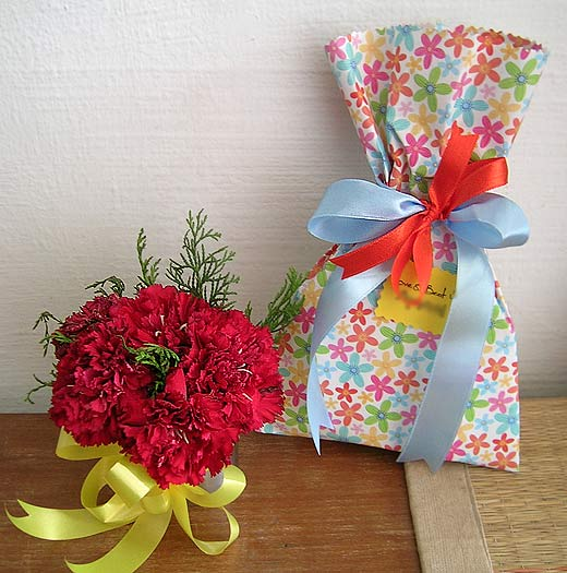 Delicate Floral Paper with Satin Ribbon Bows - Complete with Bunch of Carnations