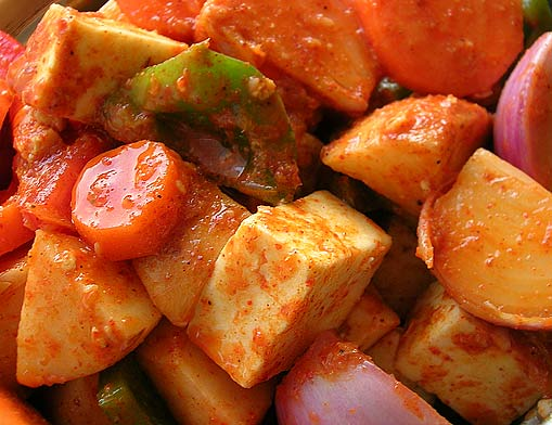 Marinating Garden Fresh Organic Veggies + Fresh Paneer (Cottage Cheese) - Get Set Grill