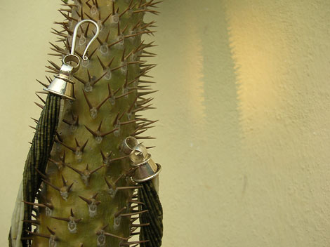 Drama on Cactus with Green Beige Beads and Huge Silver Hook Clasp