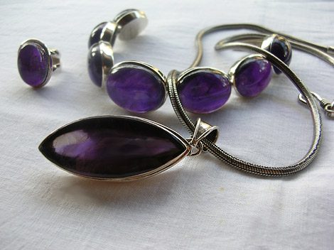 Huge Amethyst Rocks set in Sterling Silver - Pendant, Bracelet & Ring