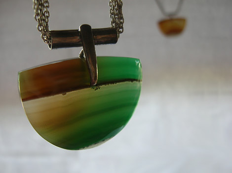 Soulscapes in Green and Brown - Classy Pendant with Silver Chain