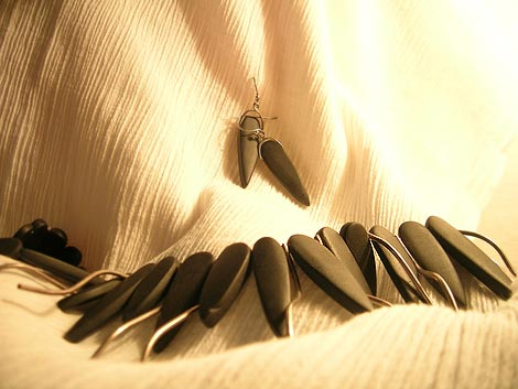 Contemporary Tribal Theme Jewels - Lava Stones interspersed with Silver Twigs