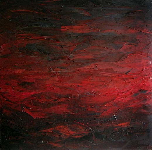 Earth, Fire & Fury, yet so peaceful - Knife Painting in Oil