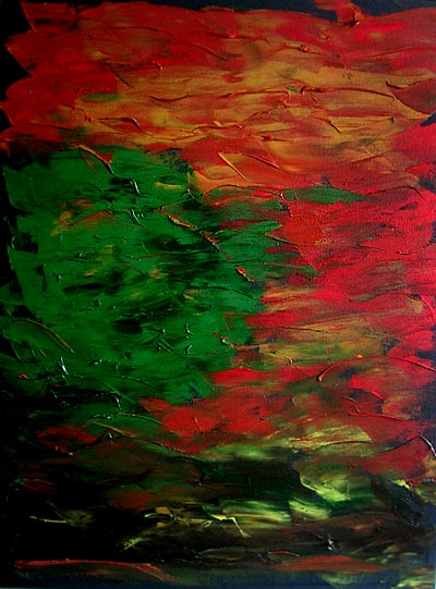 Symphony Earth - Knife Painting - Oil Media on Black Canvas