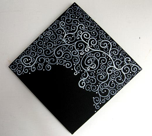 Flourish Swirls - White Tendrils on Black Canvas