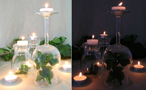Great Conversation Starter with Overturned Wine Glass with Tealights