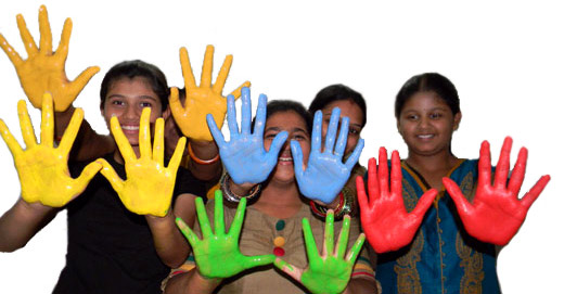 the colorful hands of wanderingmist art camp participants