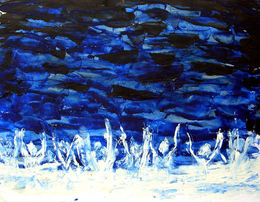 spiritual art abstract painting of sea and people faith enlightenment and light