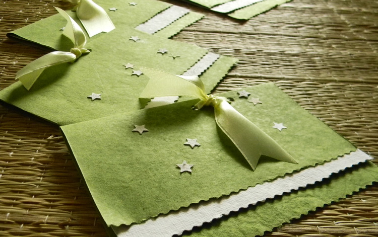 4 - Handmade Cards with Recycled Paper and Satin Ribbon Bows