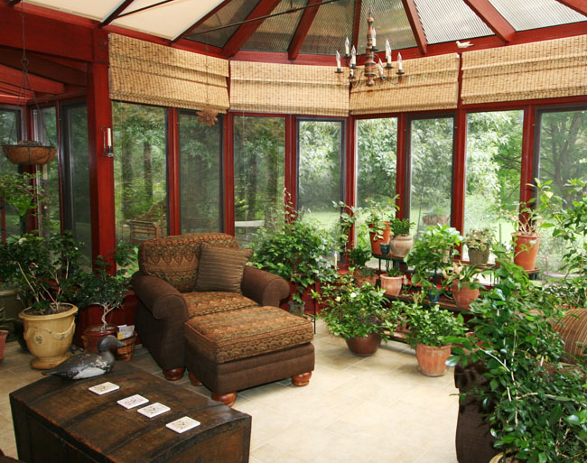 earthy rustic warm tones for sunrooms for reading book and lazing