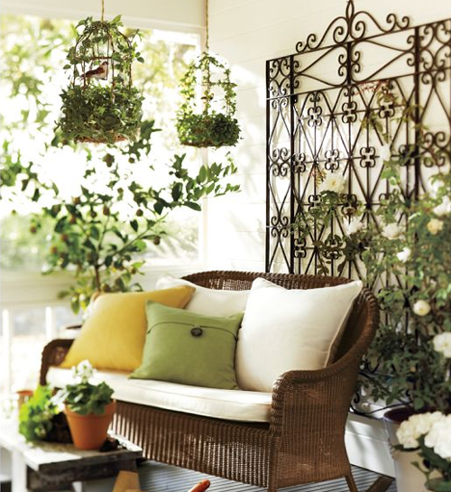 metal iron works and wicker decor for sunrooms decoration