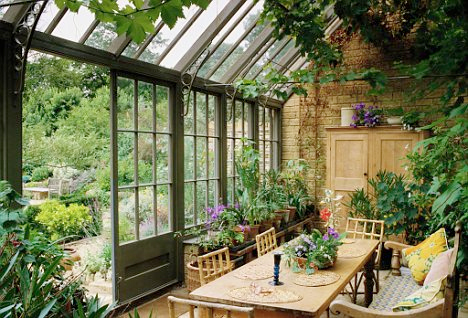 sunrooms romantic corner with dining table and plants for celebration within