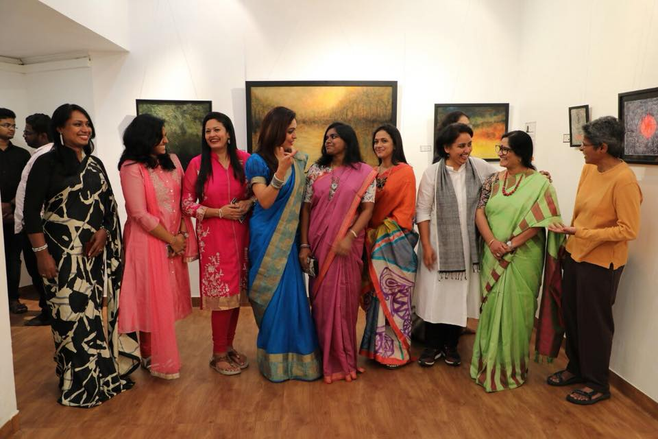 the artists and the guests at iRise women's group art show in Coimbatore art houz gallery 2018