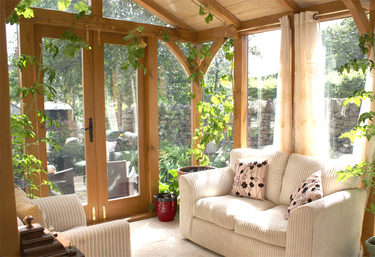wood and glass work best for sunrooms